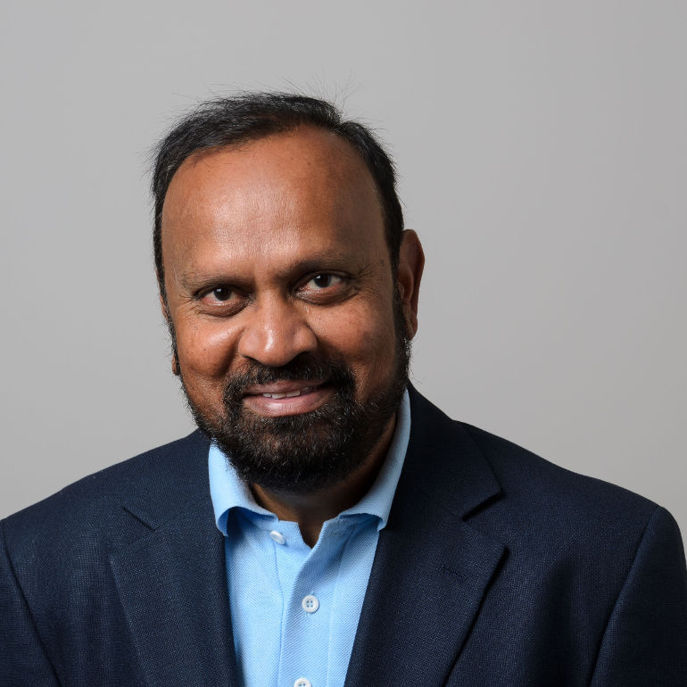 Sanguthevar Rajasekaran on Aug. 17, 2017. (Peter Morenus/UConn Photo)